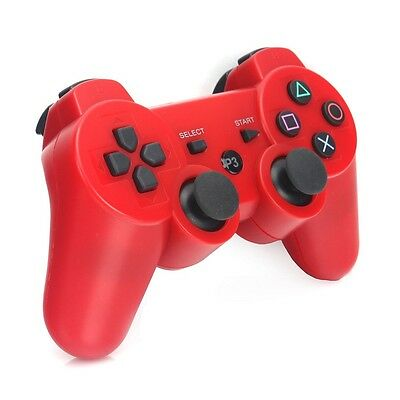1Pc Red PS3 Wireless Bluetooth Double Shock Vibration Remote Console Controller