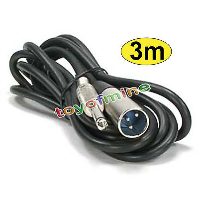 "10ft XLR 3-Pin Male to 1/4"" Mono Plug Shielded Microphone Mic Audio Cable Cord"