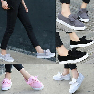 Women's Girls Bow Flat Canvas Platform Slip on Toe Sneakers Lazy Shoes Causal