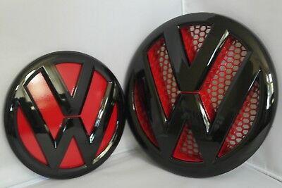 Vw T5.1 2010-2016 Transporter Gloss Black/Red Front Grill Rear Boot Badge