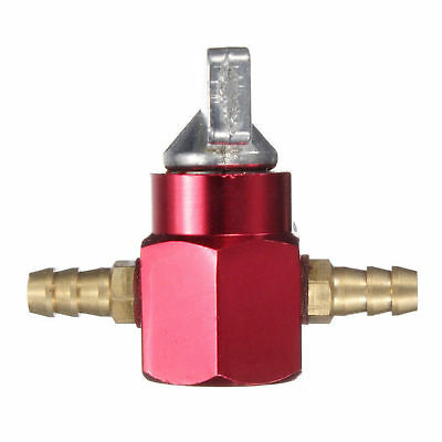 6mm 1/4'' In-Line Petrol On-Off Fuel Tap Switch Motorcycle Atv Dirt Pit Bike Red