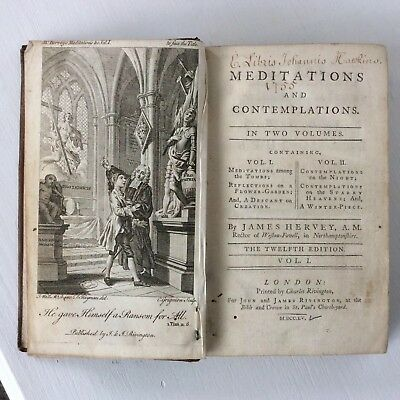 MEDITATIONS AND CONTEMPLATIONS BY JAMES HERVEY 1755. Leather Bound