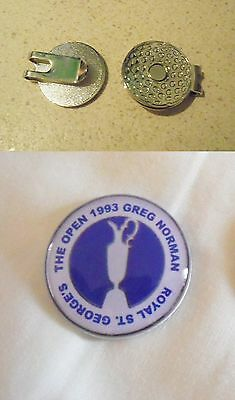 1 ONLY GREG NORMAN Shark  BRITTISH OPEN  1993 GOLF BALL MARKERS Quality HAT CLIP