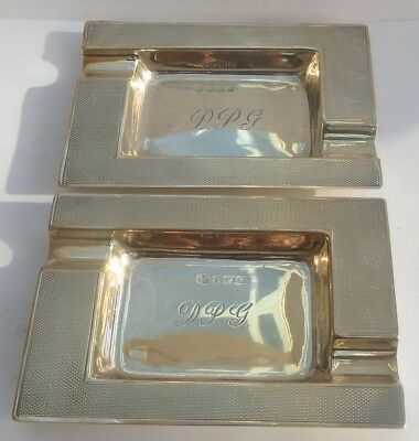 LOVELY PAIR OF ART DECO ENGLISH SILVER ASH TRAYS c.1960