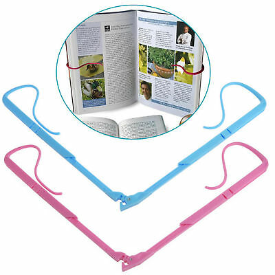 Hands Free Book Holder Folding Stand Holds Pages Open Clip Travel Reading