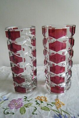 Pair Vintage French J G Durand Ruby Red  Glass Vase x 2