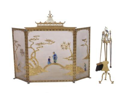 19th Cent LOUIS XV/XVI French Chinoiserie Fireplace Screen & Tools SUBMIT BEST!