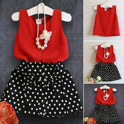 Toddler baby girls outfits clothes kids sleeveless tops + dress skirt 1set MW