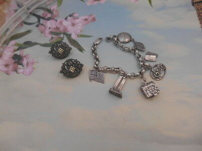 Estate Lot Jewelry Mixed Lot Sterling Signed Charm Bracelet Marcasite Earrings