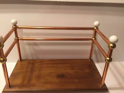 Antique Art Deco Copper,brass And Wood Vanity Tray