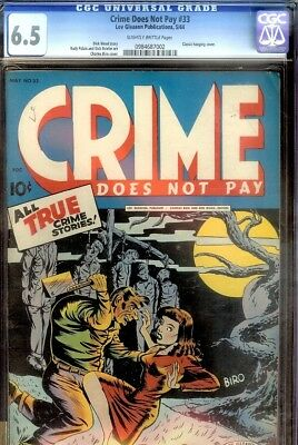 Crime Does Not Pay #33- Cgc 6.5- Classic Hanging Cvr- Awesome Cover