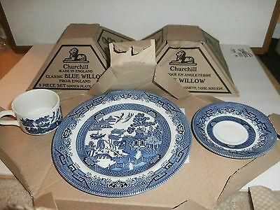 VINTAGE 3 Boxes CHURCHILL CLASSIC BLUE WILLOW 3-PC SET N.I.B