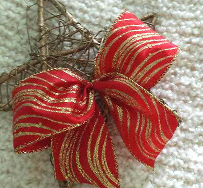 """5""""  10""""  Wired Red & Sparkly Glitter Gold Christmas Ribbon Bow Wreath Tree Gift"""