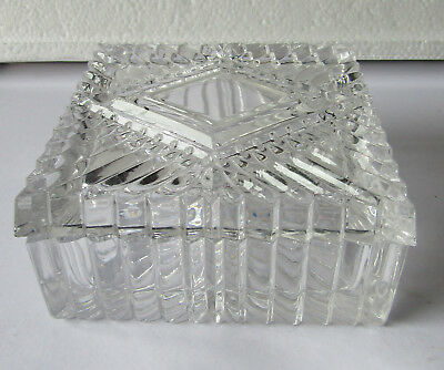 Lovely Vintage  Lead Crystal Cut Glass Square  Lidded Dish  10 cm by 5 cm deep