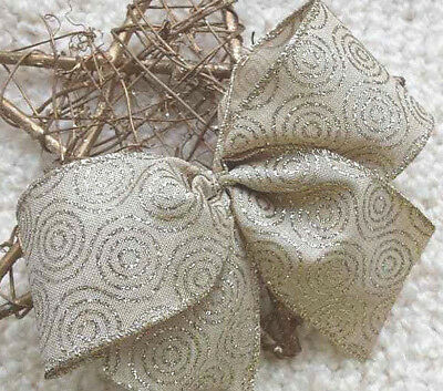 """5""""  10""""  Wired Natural Sparkly Goldswirls Christmas Ribbon Bow Wreath Tree Gift"""