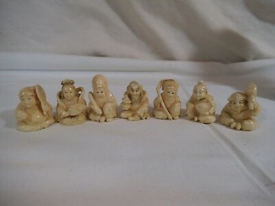 """RARE 7 Lucky Gods Carved Molded Celluloid Figurines - Signed - 1.25"""" - Scrimshaw"""