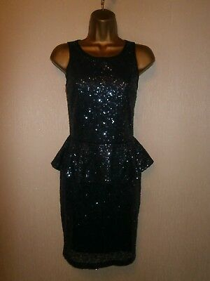 Lipsy - Navy Blue Mesh Sequined Peplum Dress - UK 8 / EU 36