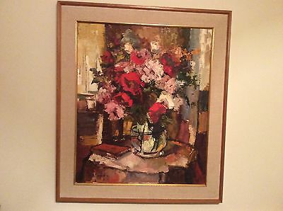 Original Signed Floral Oil Painting By Valdi S. Maris Listed New Jersey Artist