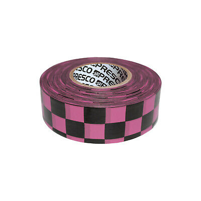 Presco Checkerboard Patterned Roll Flagging Tape: 1-3/16 in. x 50 yds. (Neon Pin