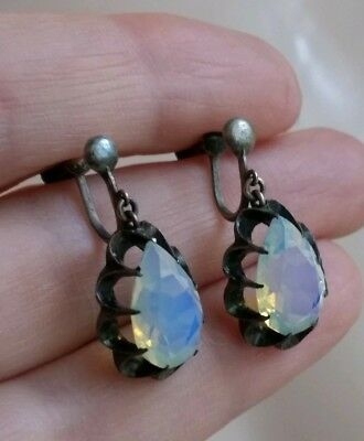 Vtg Art Deco Sterling Silver Blue Opalescent Art Glass Tear Drop Stone Earrings