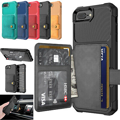 Luxury Leather Car Holder Magnetic Card Wallet Case Cover for iPhone XS 7 8 6s