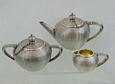 Imperial Antique Russian 84 Silver Tea Set St. Petersburg 1875 Unusual Design