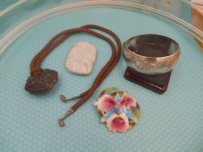 Estate Mixed Lot Vintage Jewelry  .sterling Bangle Oriental Necklace Enamel Pin