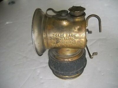 Antique Justrite Miner's Carbide Lamp PAT. APPLIED FOR