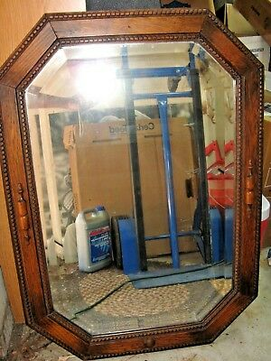 "Antique Tudor Dark Oak Octagon Beaded Framed Beveled Wall Mirror, 35"" x 24"""