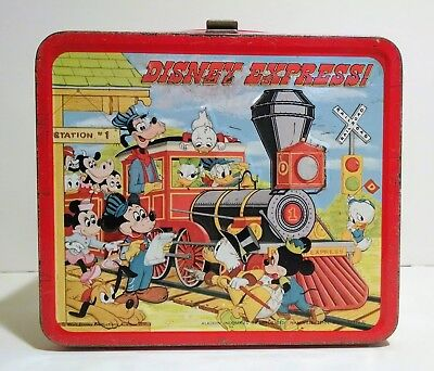 Disney Express Train Metal Lunch Box - Mickey Mouse - Donald Duck - Vintage 1979