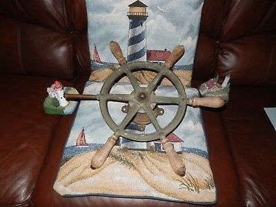 Perko Ship's Steering Wheel Wood & Brass~Antique/Vintage  Nautical Maritime Boat