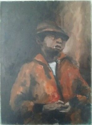 """African American Art Expressionist  Oil/canvas  """"the Man In The Orange Jacket """""""