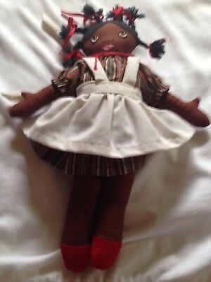 "Vintage Antique African American Black Folk Art Cloth Rag Doll 11"" tall"