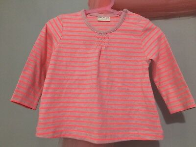 Fab Baby Girls Next Bright Neon Pink Striped Long Sleeve Top 6-9💞