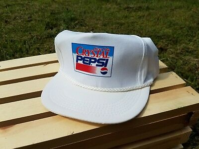 Old Vintage Crystal Pepsi Cola Advertising Promotional Baseball Hat Cap RARE NOS