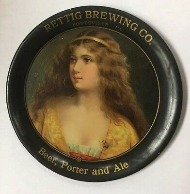 RARE Antique Rettig Beer Tin Tip Tray W/ Lady Pottsville PA NICE Condition