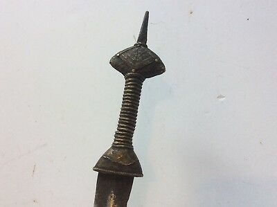 Nice Old African Dagger Knife With Bronze Handke And Scabbard