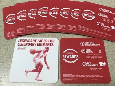 "Budweiser Beer coasters - ""Legendary Lager for Legendary Moments"" - set of 10"
