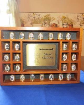 """Adorable Vintage Hummel Gold Plated Thimble Collection """"School Children"""" w/Frame"""
