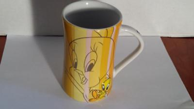 Vintage Looney Tunes Tweety Bird Mug Coffee Cup Six Flags 3D Yellow Striped NEW