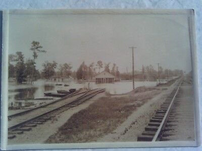 RARE 1910s RPPC SIZE PHOTO FLOOD RAILROAD TRACKS STOCKYARD EL DORADO ARKANSAS