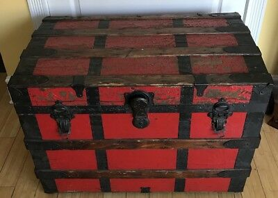 """Antique Steamer Trunk w/Great Red Painted Retro Look 32"""" W x 20"""" D x 22"""" H L@@K"""