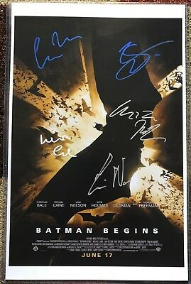 Batman Begins Poster Signed by Christopher Nolan, Christian Bale, Neeson & MORE