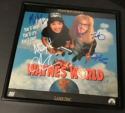 Wayne's World Laserdisc Signed by Mike Myers, Dana Carvey, Rob Lowe, Tia Carrere