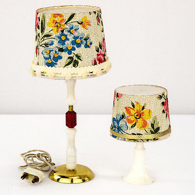1960s Electric Lamps Matching Set White w Floral Shades 1 Floor & 1 Table 1:12
