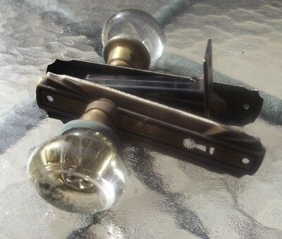 vintage antique glass & brass door knobs spindles art deco backplates 1 set