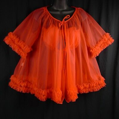 Sheer Short Negligee Set Pandora By Chic Bright Coral Vintage S/M Heart Cups