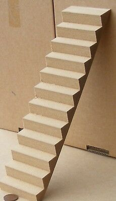 1:12 Scale Single Piece 29cm MDF Wooden Stair Case Tumdee Dolls House Miniature