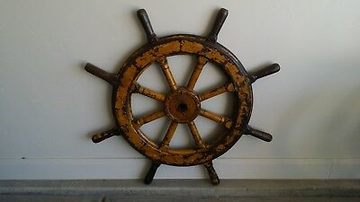 "Authentic Vintage Architectural Salvage - 39"" Ship Helm Wheel"