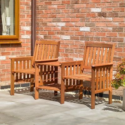 Hardwood Garden Patio Love Bench Seat Wooden Outdoor Furniture Chairs & Table